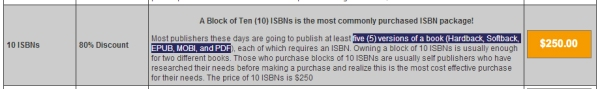 Popular ISBN Formats each require a separate ISBN
